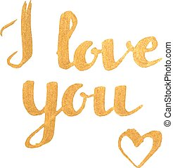 I love you golden inscription with heart.