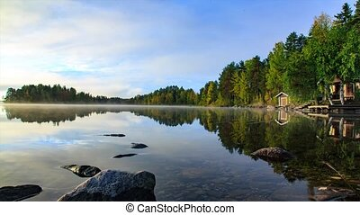 Sunrise at l, Finland - Sunrise at quite and beautiful lake,...