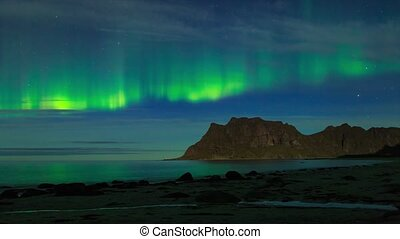 Aurora over the sea timelapse - Aurora over the sea at...