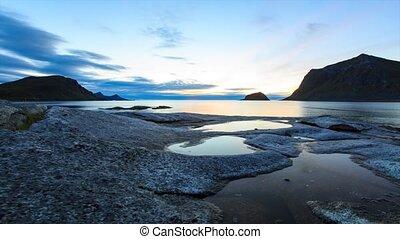 Sunset at Lofoten coast - Sunset moving timelapse at Lofoten...