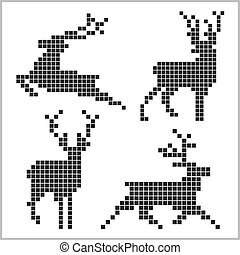 Pixel silhouettes of deers isolated on white bacground