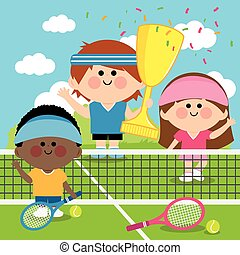 Champions kids tennis players - Vector illustration of...