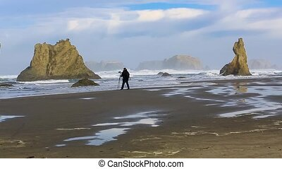 Photographer on the Pacific coast, Bandon, Oregon