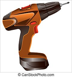 electric screwdriver with a bat on a white background vector