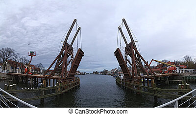 Panoramic shot of the historical bascule bridge in Wieck...