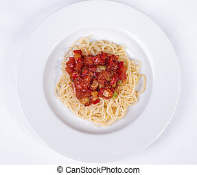 vegetable pasta with meatballs and tomato sauce