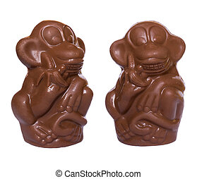 Chocolate monkeys figures - The collection of two chocolate...