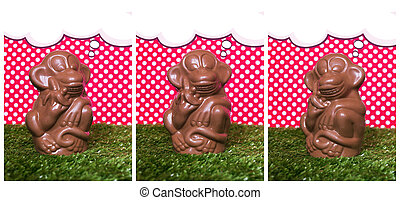 Chocolate monkey on the grass - The collection of banners...