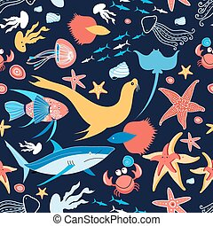pattern with stingray and fish - Beautiful vector pattern on...