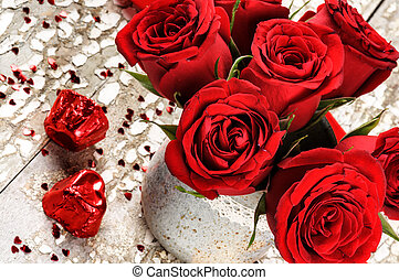 Valentine's setting with bouquet of red roses