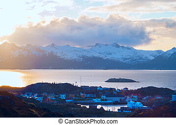 Top view of Lofoten island Skrova in evening
