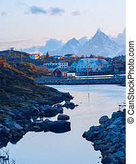 Norwegian village on the Lofoten islands in the evening