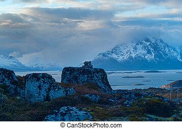 Top of mountain on island Skrova of Lofoten