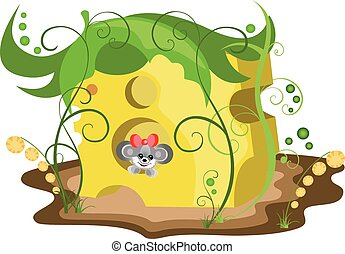 Illustration mouse in cheese - Colorful illustration with...