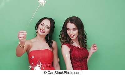 Two beautiful girl with Bengal lights HD