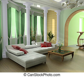 green penthouse - Modern interior of a room 3d image