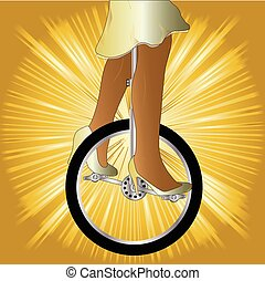 Unicycle On Golden Splash - A unicycle and woman rider over...