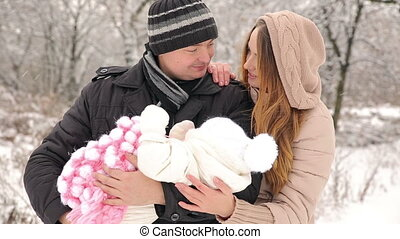 Newborn With Happy Parents - Young Happy Family with baby