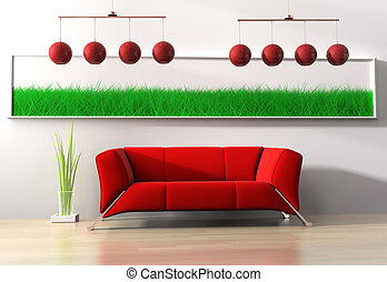 Red furniture - Red modern furniture on a white background...