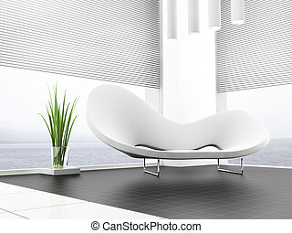 White sofa - place for rest in apartment 3 d image