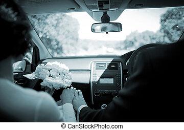 chófer, coche, Matrimonio, Manejar, boda