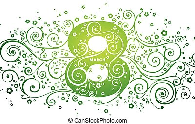 March 8, Happy Womans day Vector greeting card