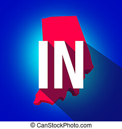 Indiana IN Letters Abbreviation Red 3d State Map Long Shadow