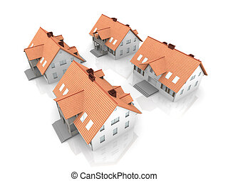 Four Houses - 3D rendered Illustration. Isolated on white.