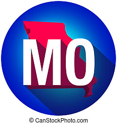 Missouri MO Letters Abbreviation Red 3d State Map Long Shadow Circle