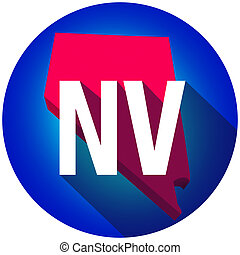 Nevada NV Letters Abbreviation Red 3d State Map Long Shadow Circle