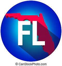 Florida FL Letters Abbreviation Red 3d State Map Long Shadow Circle