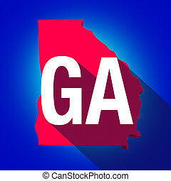 Georgia GA Letters Abbreviation Red 3d State Map Long Shadow Circle