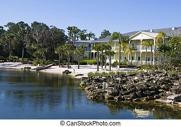 Beach Condos - Beautiful two story yellow condominiums on a...