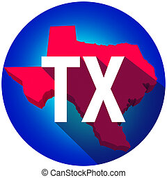 Texas TX Letters Abbreviation Red 3d State Map Long Shadow...