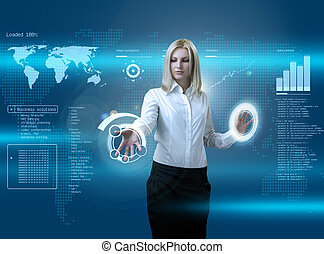 Attractive blonde navigating futuristic interface -...