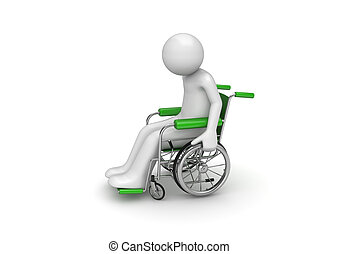 Disabled person on a wheeled chair - 3d characters isolated...