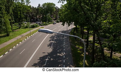 Flight Over Highway Traffic - highway traffic from the...