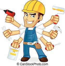 Handyman - Cartoon illustration of a Handyman