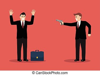 Businessman hold a handgun robs a businessman with briefcase...