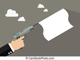Hand holding handgun with a white flag