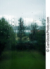 Rainy day - Rainy window on a melancholy day