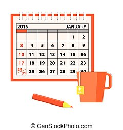 template of the calendar with cup