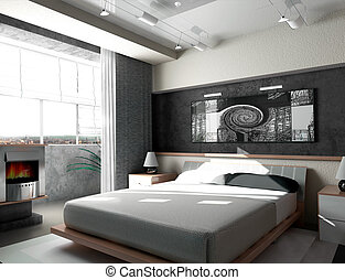 Bedroom in the morning - Interior of a sleeping room 3d...