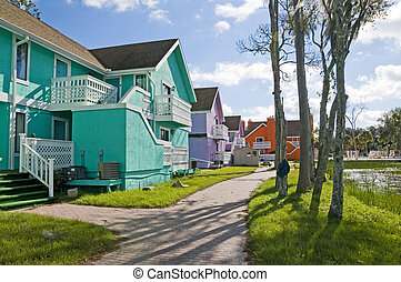 Abandon Condos - Brightly colored Abandon condominiums on a...