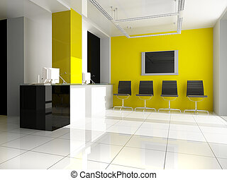 Workplace - Modern interior of office 3 d render
