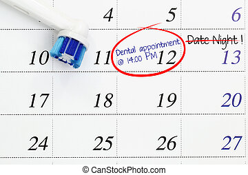 Dental appointment on calendar
