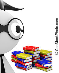 Student and stack of books