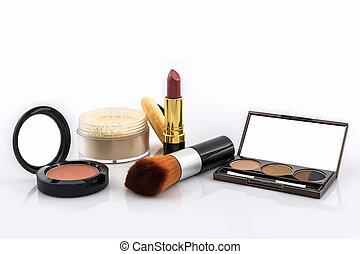 Decorative Cosmetic set. - Decorative Cosmetic set on white...