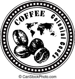 Colonial goods coffee beans - Stamp print, colonial goods...