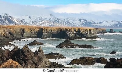Iceland coast view - Sea coast volcanic rocks at Iceland...
